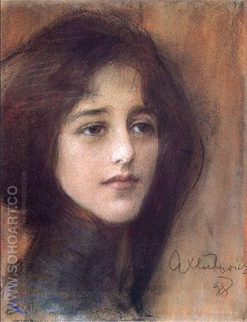 Portret Kobiety C 1898 - Teodor Axentowicz reproduction oil painting