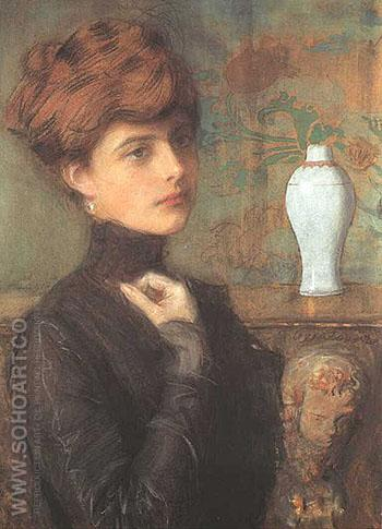 Portret Mlodej Kobiety 1900 - Teodor Axentowicz reproduction oil painting