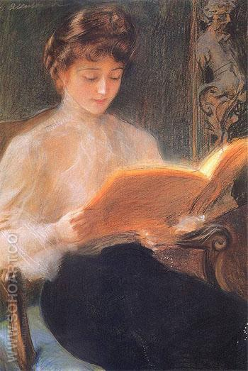 Reading 1899 - Teodor Axentowicz reproduction oil painting