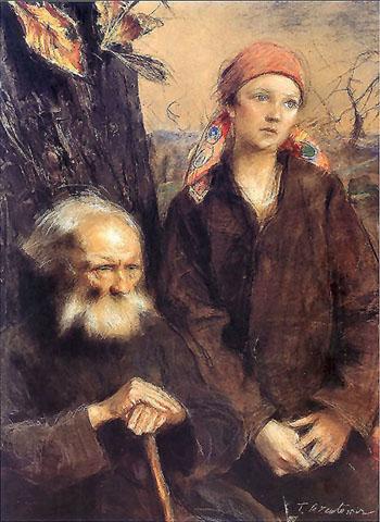 Starzec I Dziewczyna 1900 - Teodor Axentowicz reproduction oil painting