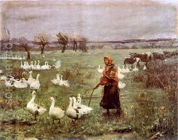 The Goose Girl 1883 - Teodor Axentowicz reproduction oil painting