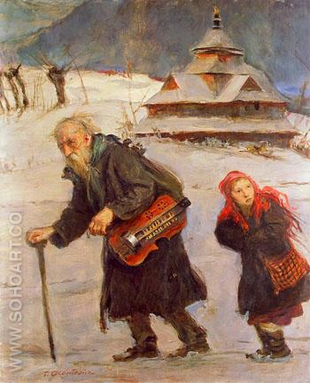 The Lyrist and His Daughter 1900 - Teodor Axentowicz reproduction oil painting