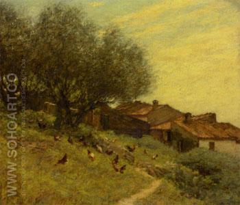 A Hillside Village in Provence - Henry Herbert La Thangue reproduction oil painting