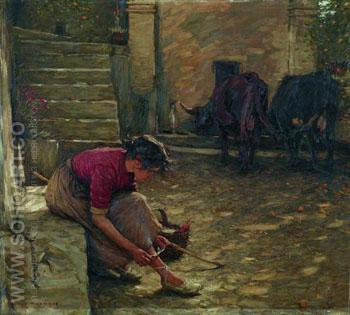 Going Out with The Cows - Henry Herbert La Thangue reproduction oil painting