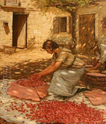 Packing Cherries in Provence France - Henry Herbert La Thangue reproduction oil painting