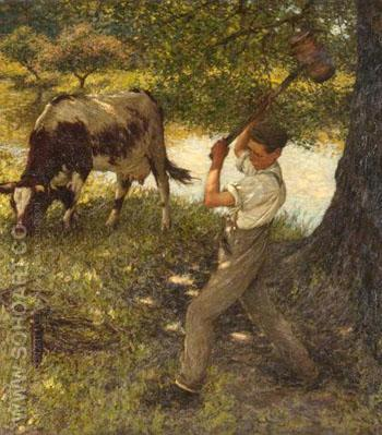 Stumping The Cow - Henry Herbert La Thangue reproduction oil painting