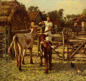 Sussex Farm - Henry Herbert La Thangue reproduction oil painting