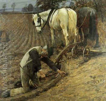 The Last Furrow - Henry Herbert La Thangue reproduction oil painting