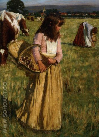 The Mushroom Gatherers - Henry Herbert La Thangue reproduction oil painting
