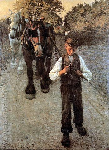 The Ploughboy Sun - Henry Herbert La Thangue reproduction oil painting