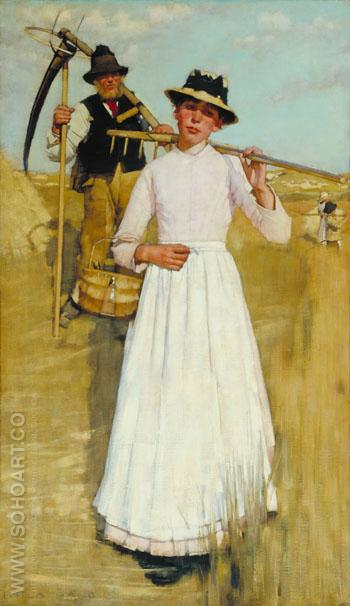 The Return of the Reapers - Henry Herbert La Thangue reproduction oil painting