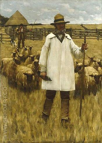 The Shepherd c1880 - Henry Herbert La Thangue reproduction oil painting