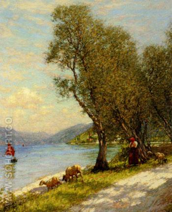 Veronese Shepherdess Lake Ganda - Henry Herbert La Thangue reproduction oil painting