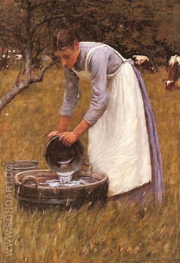 Watering The Cows - Henry Herbert La Thangue reproduction oil painting