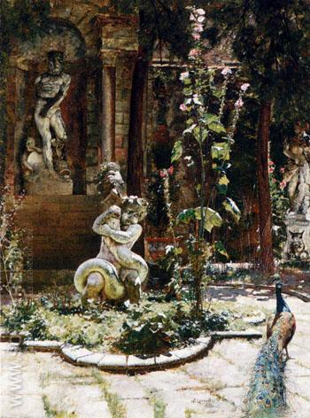 The Garden of the Palazzo Malipiero 1882 - William Logsdail reproduction oil painting