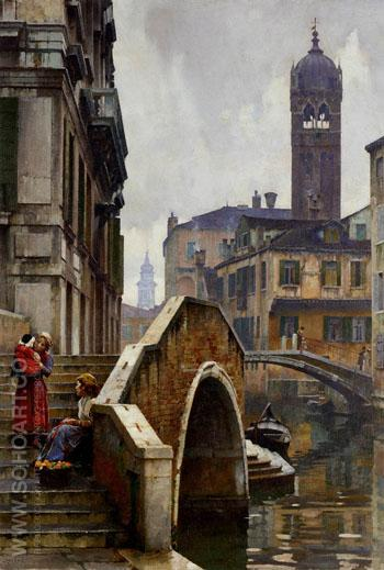 The Ponte Dei Pugni Venice with The Campanile of Sta Fosca Beyond - William Logsdail reproduction oil painting