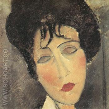Woman in a Black Necktie 1917 - Amedeo Modigliani reproduction oil painting