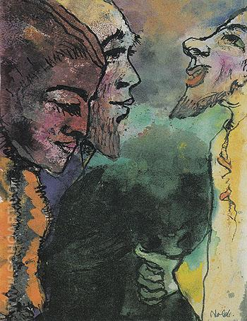 Couple and Goateed Man in Profile - Emile Nolde reproduction oil painting