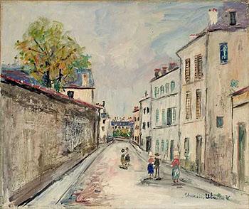 La rue Cortot a Montmartre - Maurice Utrillo reproduction oil painting
