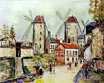 Windmills Montmartre 2 - Maurice Utrillo reproduction oil painting