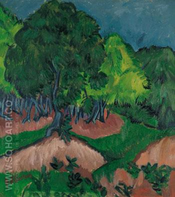 Landscape with Chestnut Tree 1913 - Ernst Kirchner reproduction oil painting