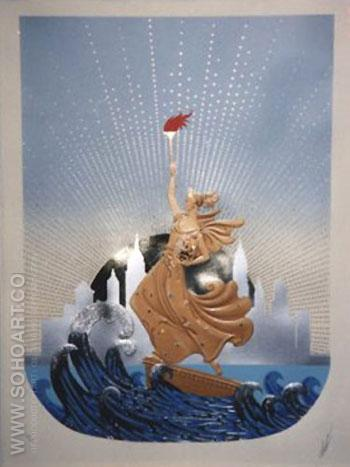 Statue of Liberty Day and Night 2 - Erte reproduction oil painting