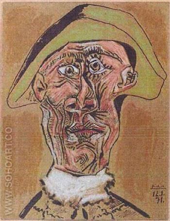 Harlequin Head 1971 - Pablo Picasso reproduction oil painting