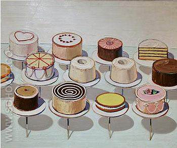 Cakes 1963 2 - Wayne Thiebaud reproduction oil painting