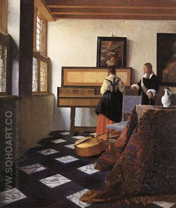 Lady at the Virginal with a Gentleman - Johannes Vermeer reproduction oil painting