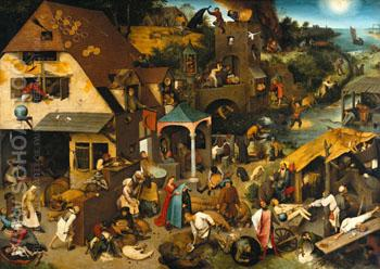 The Dutch Proverbs 1559 - Bruegel Pieter reproduction oil painting