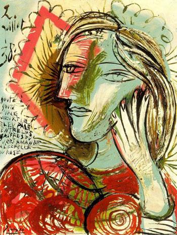 Tete de Jeune Fille au Poeme 1938 - Pablo Picasso reproduction oil painting
