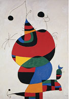 Woman, Bird and Star (Homage to Picasso), - Joan Miro reproduction oil painting