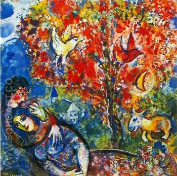 The Enamoured - Marc Chagall reproduction oil painting