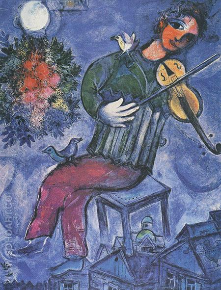 Blue Violinist - Marc Chagall reproduction oil painting