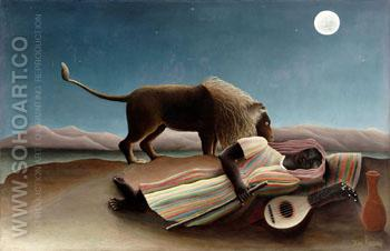 The Sleeping Gypsy 1897 - Henri Rousseau reproduction oil painting
