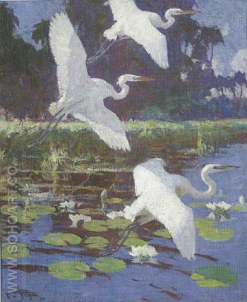Herons and Lilies 1934 - Frank Weston Benson reproduction oil painting