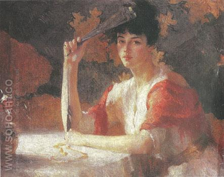 Red and Gold 1915 - Frank Weston Benson reproduction oil painting