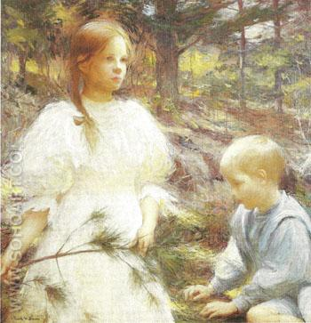 Children in the Woods 1898 - Frank Weston Benson reproduction oil painting