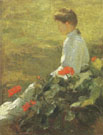 Woman with Geraniums c1910 - Frank Weston Benson reproduction oil painting