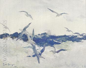 Seagulls and Surf 1927 - Frank Weston Benson reproduction oil painting