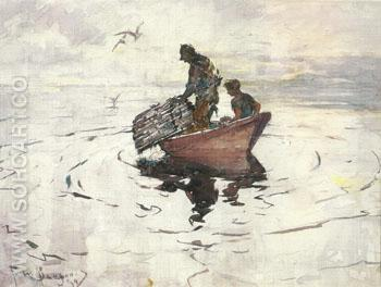 The Lobsterman 1937 - Frank Weston Benson reproduction oil painting