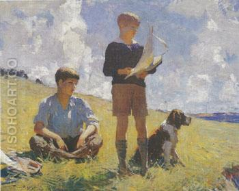 Two Boy 1926 - Frank Weston Benson reproduction oil painting
