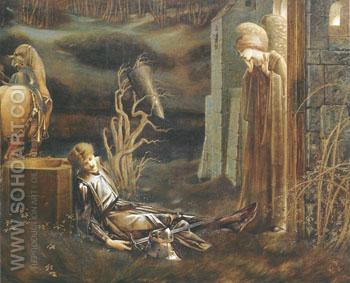 The Drean of Launcelot at the Chapel of the San Graal 1985-96 - Sir Edward Coley Burne-jones reproduction oil painting