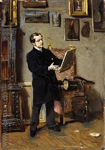 Self Portrait While Looking at a Painting 1865 - Giovanni Boldini reproduction oil painting