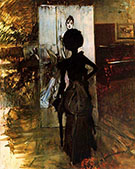 Woman in Black Who Watches the Pastel of Signora Emiliana Concha de Ossa 1888 - Giovanni Boldini reproduction oil painting