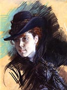 Girl in a Black Hat 1890 - Giovanni Boldini reproduction oil painting