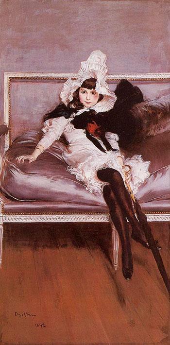 Portrait of Giovinetta Errazuriz 1892 - Giovanni Boldini reproduction oil painting