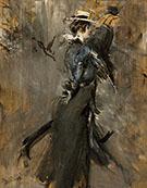Lady Wearing a Straw Bonnet Morning Promenade 1905 - Giovanni Boldini