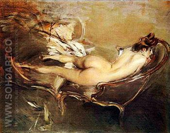 A Reclining Nude On A Day Bed - Giovanni Boldini reproduction oil painting