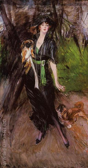 Portrait of a Lady Lina Bilitis with Two Pekinese 1913 - Giovanni Boldini reproduction oil painting